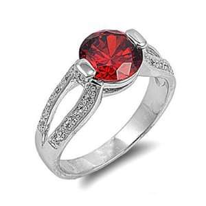 New Ladies Rhodium Plated Red Garnet CZ Brass Ring Size 7 Jewelry