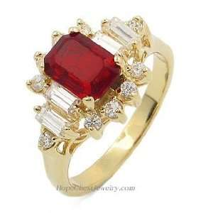 GEMSTONE CZ RING   Garnet Red Gold Plated CZ Ring Jewelry