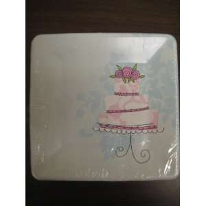 Wedding Snack Plates Pink and Blue with Wedding Cake Design Kitchen