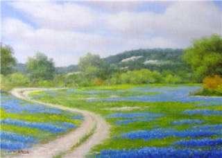 Art Original Oil Painting Print Texas Bluebonnet Signed
