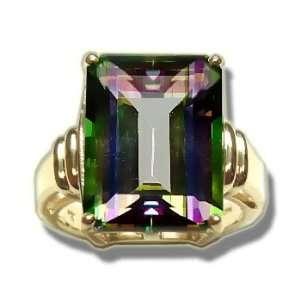 16X12 Emerald Cut Mystic Green Topaz Ladies Gold Ring Jewelry