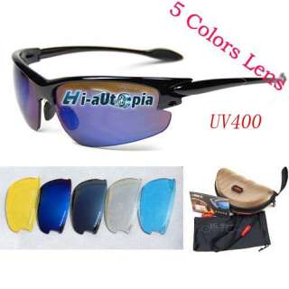 Bike Bicycle Cycling Sports Riding Sun Glasses Goggles & 5 Lens Pearl