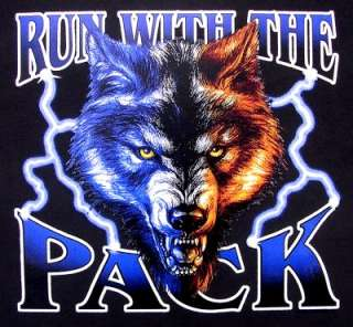 RUN WITH PACK WOLF WEREWOLF WOLFMAN BIKER T SHIRT XT15