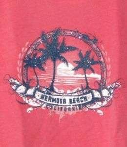 Sunset Palm Ladies Redondo Beach Cap Sleeve Tee Shirt