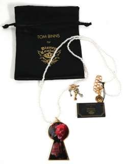 Gold Keyhole Alice Pearl Charm Necklace by Tom Binns, New With Tags
