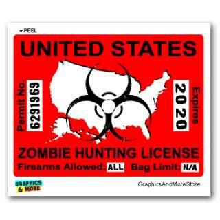 Hunting License Permit Red   Biohazard Response Team Sticker
