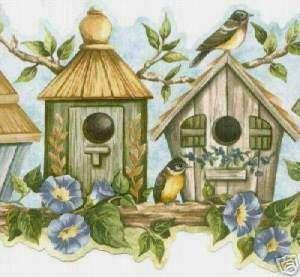 Birdhouse Floral & Bird..Country Cute Wallpaper Border