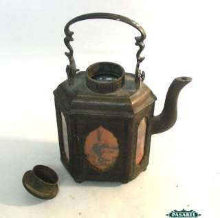 Fine Chinese Pewter And Painted Glass Teapot China 1920