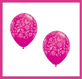 wedding baby shower DAMASK PRINT BALLOONS black hot pink pearl white