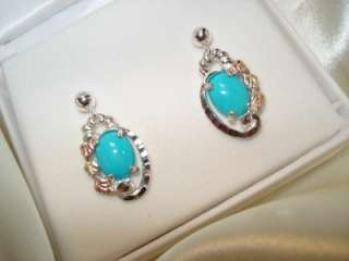 BLACK HILLS GOLD/silver GENUINE Post Turquoise Earrings~NEW
