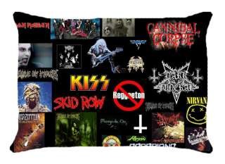 , SKID ROW, etc Logo Rock Band Pillow Case Black Bed Home Gift