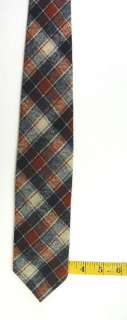 PENDLETON BROWN BLACK BEIGE GREY PLAID WOOL NECK TIE