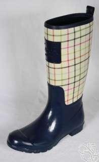 COACH Pearl Tattersall Print Ivory / Navy Rubber Rainboots Rain Boots