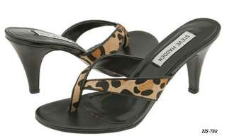 STEVE MADDEN BLAY BLACK LEATHER LEOPARD THONGS SANDAL SHOES 6 NEW