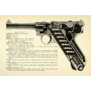1948 Print 9 mm German Luger Automatic Pistol Interior