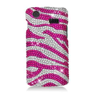 Samsung Captivate i897 Phone Full Bling Stone Hard Case Hot Pink Zebra