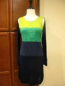 AZRIA NOEMA cutout OPEN SHOULDER COLOR BLOCKED Sweater Dress S