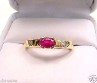 NICE BLOOD RED NATURAL RUBY & DIAMONDS 18K GOLD RING