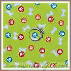 Fabric Puppy Dog Paw Print Bone Toy Dot Ball Red Green Blue SCRAP 99