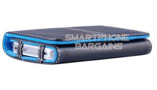 BLUE Leather Wallet Case Credit ID Card Holder Flip Pouch Cover for