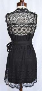 Bob Cotton Lace Wrap Dress S 4 6 8 UK 8 10 12 NWT Black + Jersey Slip