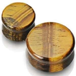 Solid Tigers Eye Semi Precious Stone Saddle Plugs   6 Gauge Jewelry