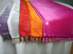BEADED WEDDING TABLE RUNNER DECOR HOT PINK PURPLE ORANGE RED WHITE