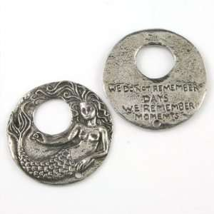 32mm Green Girl Mermaid Remember Pewter Charms Arts