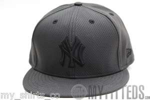 NEW YORK YANKEES Cool Perforated Black PU Leather New Era Fitted Cap