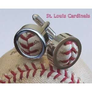 St. Louis Cardinals Game Used Baseball Cufflinks