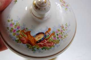 PARIS SEVRES ROMANTIC SCENE INSTRUMENTS CUP SAUCER BOULLION CUP