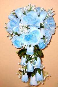 BRIDES CASCADING WEDDING BOUQUET WITH BOUTONNIERE