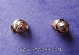 Faceted Round Solid 18KT Rose Gold Stud Earring