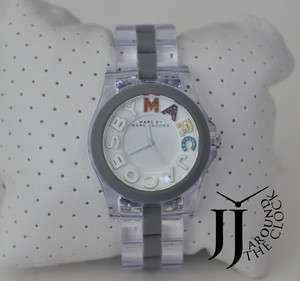 Marc Jacobs Clear Acrylic Swarovski Crystal Logo Rivera Watch MBM4548