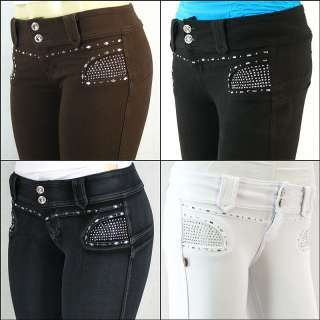 Brazilian Style Moleton Jeans Low Rise Skinny Jeans Embellished Stones