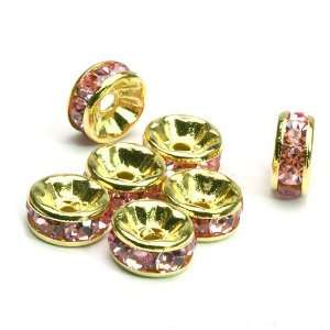 100 Pcs Swarovski Crystal Rondelle Spacer Bead Gold Plated