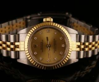 Excellent 18K/SS Ladies Rolex Oyster Perpetual Ref. 76193 Diamond Dial
