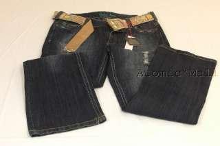 Womens Suko Jeans Petite Destroyed w/ Floral Belt SZ 4P