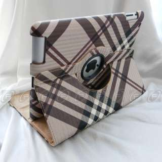 Rotating Smart Cover Leather Case Stand For iPad 2 Wake/Sleep
