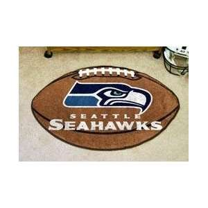NFL SEATTLE SEAHAWKS FOOTBALL SHAPED DOOR MAT RUG: Sports