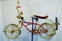 bicycle collectible gold cruiser banana seat red stingray bike