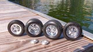 18 NOS Detroit DieCast Chrome Cragar Wheel Tire Set