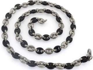 Mens Stainless Steel Polish Black Silver Tone Bracelet Necklace Set
