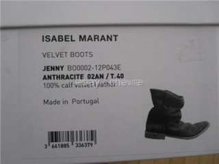 ISABEL MARANT SS2012 BRUSHED SUEDE JENNY BOOTS ANTHRACITE SZ 40