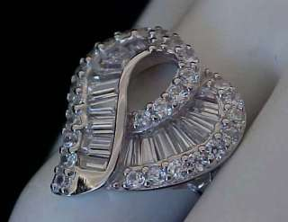 Baguettes cz Rhodium Sterling Silver HEART Cocktail Ring Sz6