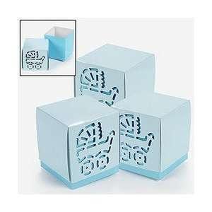 Lot of 12 Cardboard Blue Baby Boy Shower Favor Boxes