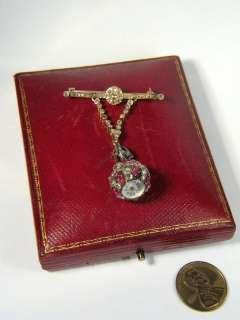 ANTIQUE RUSSIAN?18K GOLD DIAMOND RUBY FOB WATCH BROOCH
