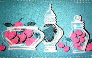 Vtg 50s EAMES Tablecloth SPRING EASTER ROBIN EGG BLUE PINK ROSE CHERRY