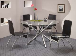 5Pcs Round Glass Top Dining Table Chair Set Modern Furniture