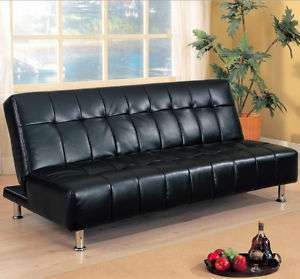 Contemporary Black vinyl Sofa Bed Modern Futon 300118